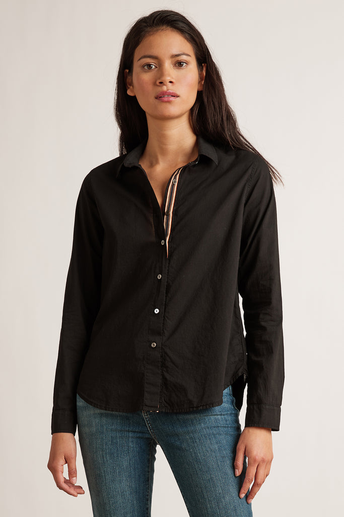 NINA COTTON SHIRTING TOP IN BLACK