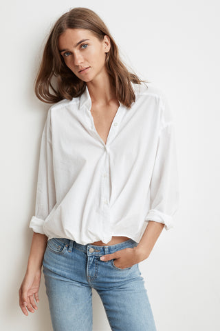 ASTRID COTTON BUTTON UP SHIRT IN WHITE