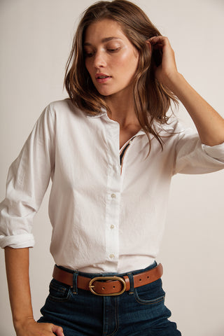 NINA COTTON SHIRTING TOP IN WHITE