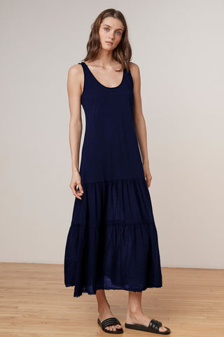 AGNESE COTTON CONTRAST MAXI DRESS IN CADET