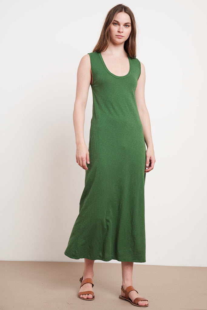 ALEXANDRA COTTON SLUB DRESS IN IVY