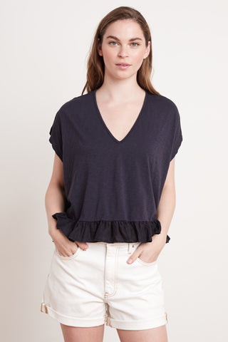 ALMIRA COTTON SLUB TOP IN INK