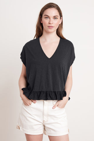 ALMIRA COTTON SLUB TOP IN BLACK
