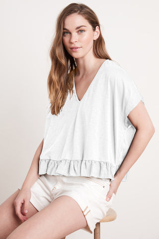 ALMIRA COTTON SLUB TOP IN WHITE