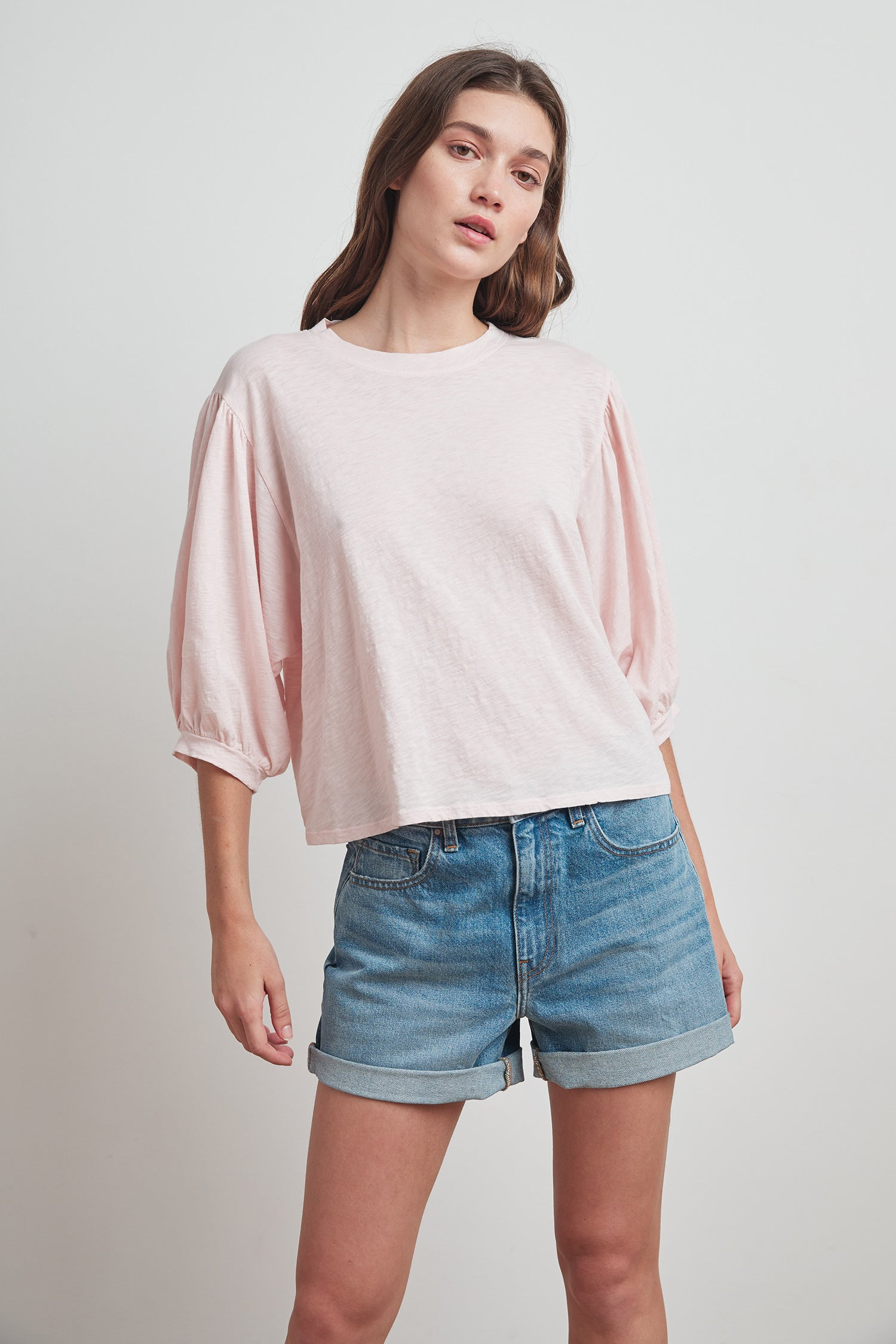 AMARA COTTON SLUB 3/4 SLEEVE TEE IN SHELL