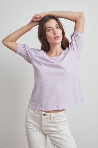 ANABELLE COTTON SLUB PUFF SLEEVE TEE IN LILAC