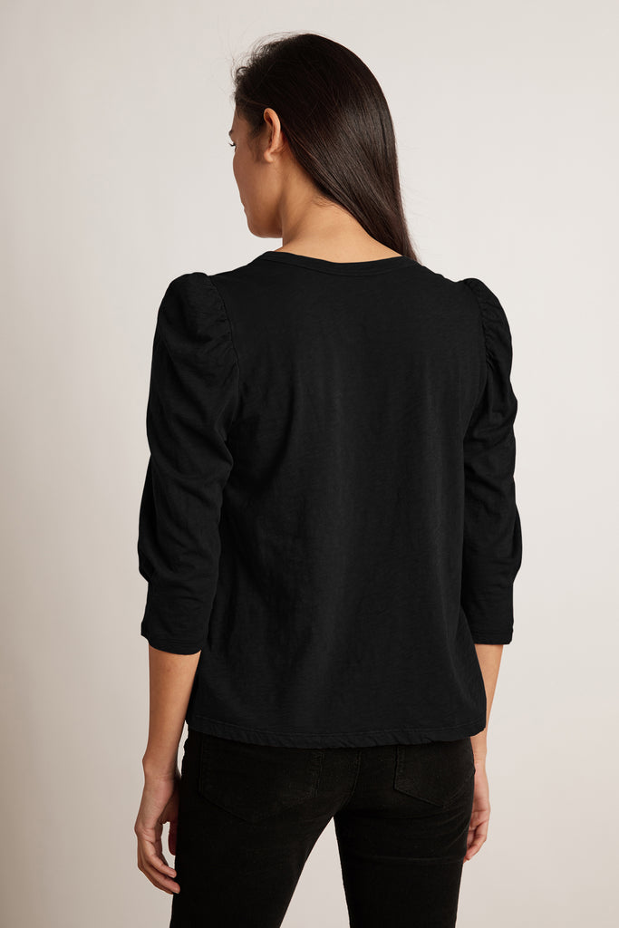 ANGELINA COTTON SLUB TOP IN BLACK