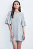 ANNABELLE COTTON SLUB RUFFLE SLEEVE DRESS IN HEATHER GREY