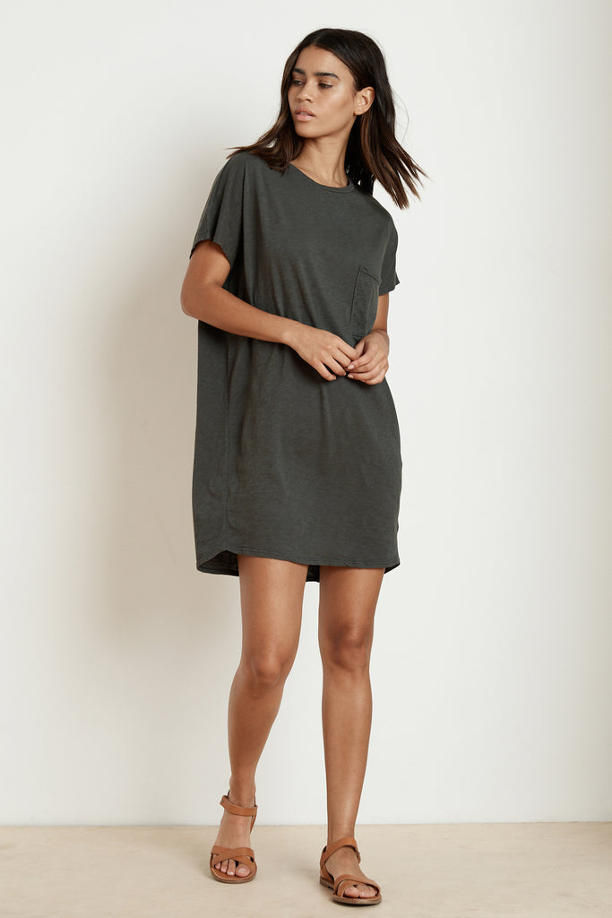 ANNIE COTTON SLUB T-SHIRT DRESS IN CIRRUS
