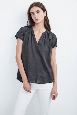 ARMANDA WOVEN SHORT SLEEVE TOP IN ELEPHANT
