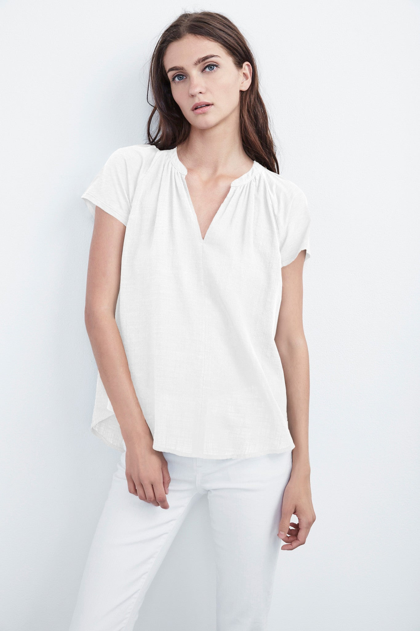 ARMANDA WOVEN SHORT SLEEVE TOP IN WHITE