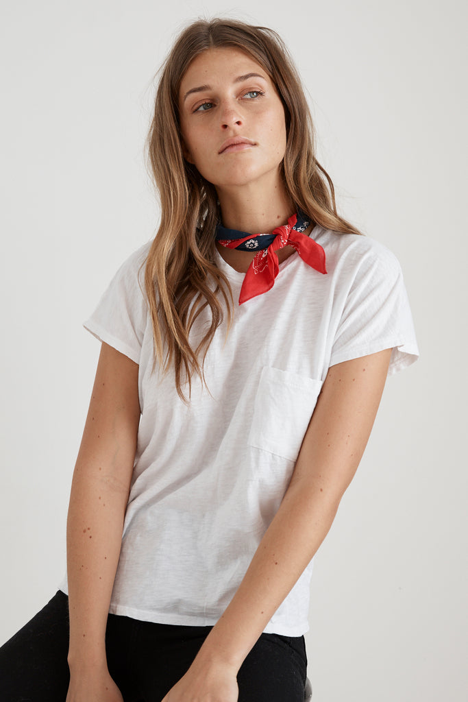 CARINE COTTON SLUB POCKET TEE IN WHITE