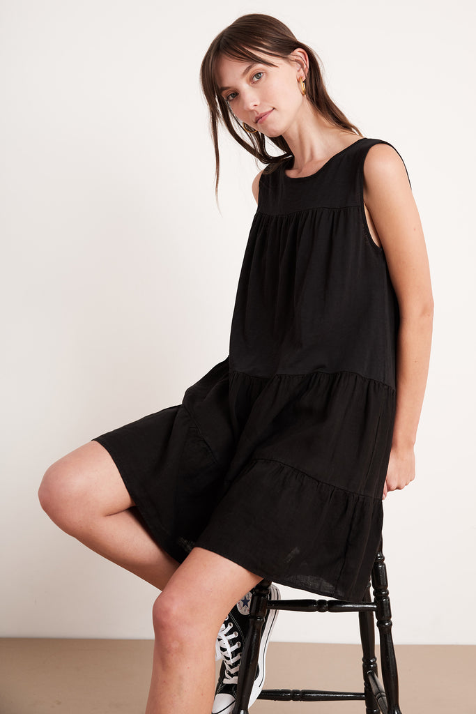 CHARLOTTE COTTON SLUB DRESS IN BLACK