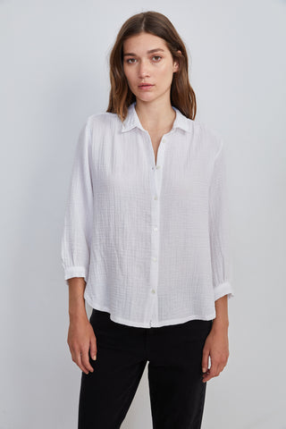 DAYNA COTTON CONTRAST BLOUSE IN WHITE