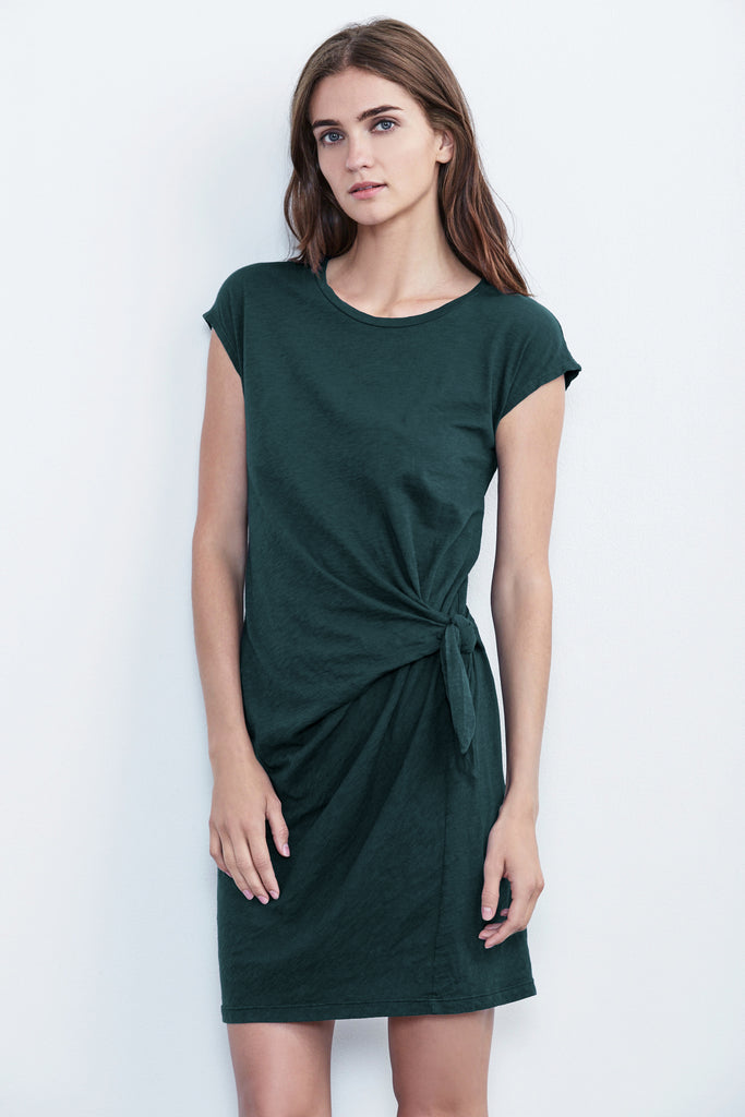 GUSSIE COTTON SLUB TIE DRESS IN AZURINE