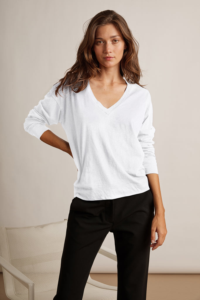 JANE COTTON SLUB TOP IN WHITE