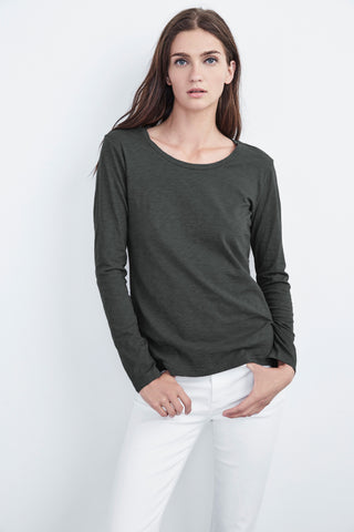 KILIA COTTON SLUB ROUND NECK TEE IN ELEPHANT