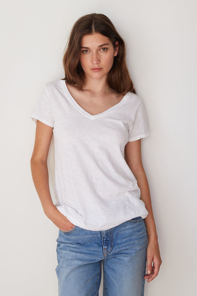 LILITH COTTON SLUB T-SHIRT IN WHITE
