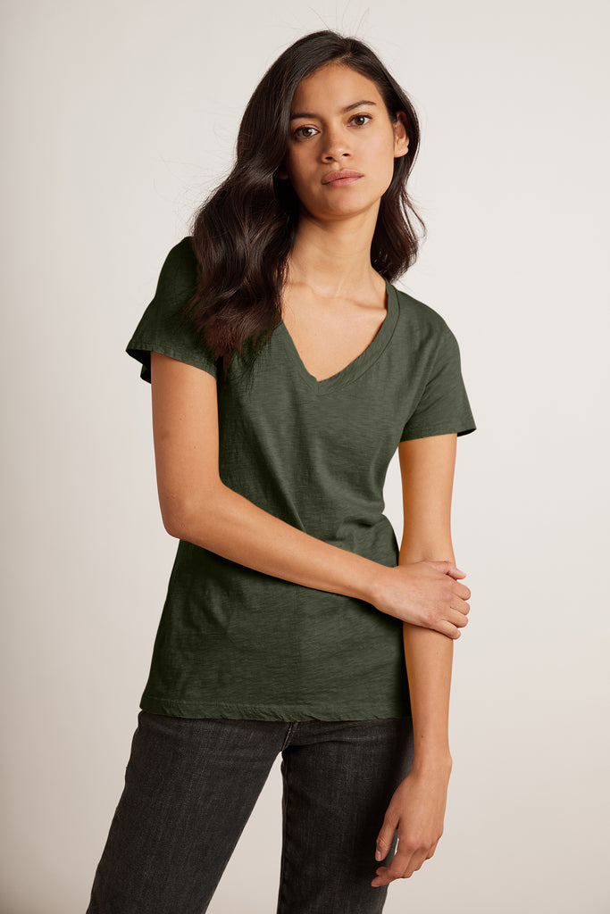 LILITH COTTON SLUB TOP IN HEDGE