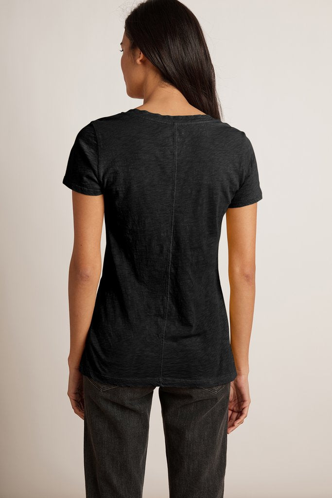 LILITH COTTON SLUB TOP IN BLACK