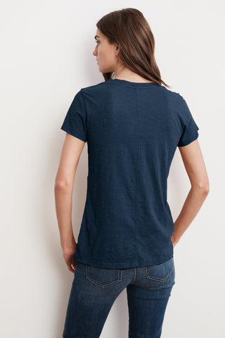 LILITH COTTON SLUB V-NECK TEE IN LAGOON