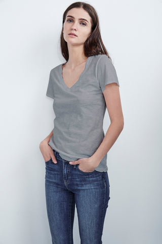 LILITH COTTON SLUB T-SHIRT IN MEDIUM HEATHER GREY