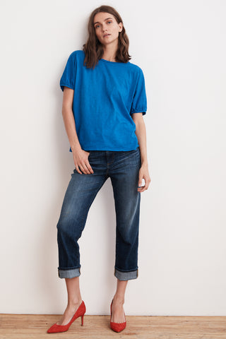 LOUISE COTTON SLUB SHORT PUFF SLEEVE TEE IN PACIFIC
