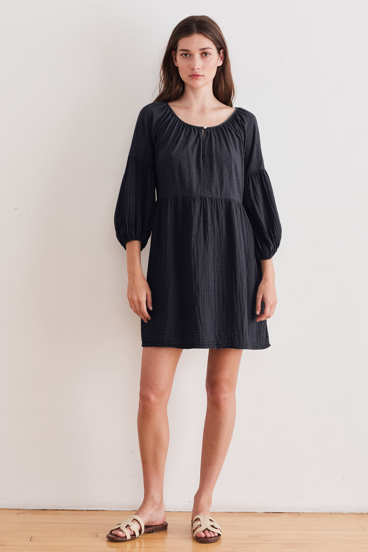 MALIA COTTON SLUB DRESS IN INK
