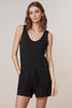 MANNA COTTON SLUB SLEEVELESS ROMPER IN BLACK