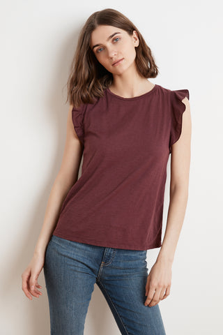 MARVEL COTTON SLUB RUFFLE SLEEVE TEE IN BARREL