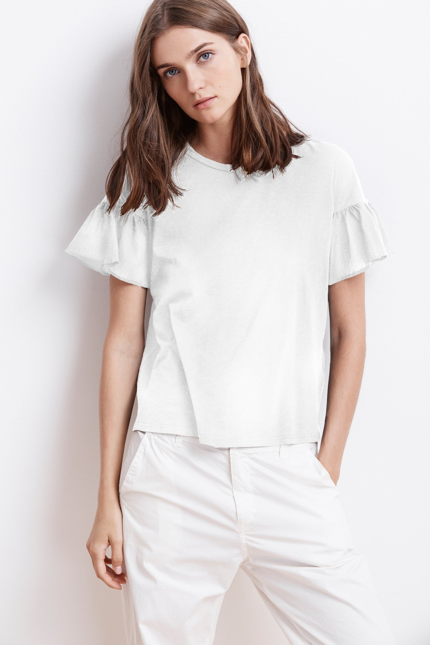 MAUREEN COTTON CONTRAST RUFFLE SLEEVE TEE IN WHITE