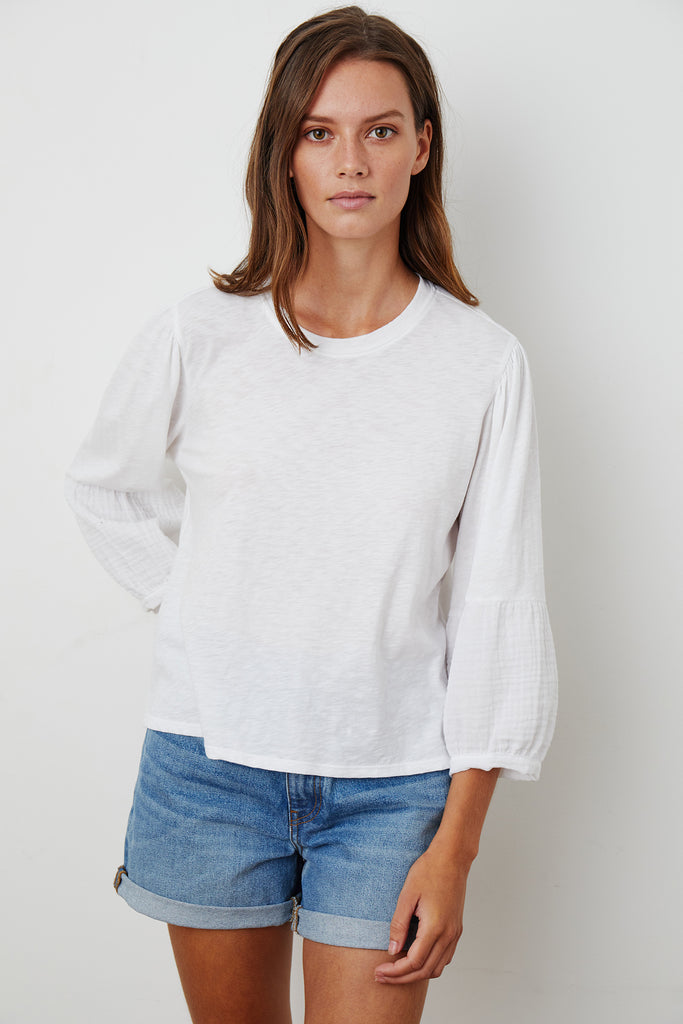 MARIEL COTTON CONTRAST TEE IN WHITE