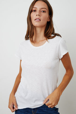 ODELIA COTTON SLUB T-SHIRT IN WHITE