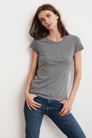 ODELIA COTTON SLUB T-SHIRT IN MEDIUM HEATHER GREY