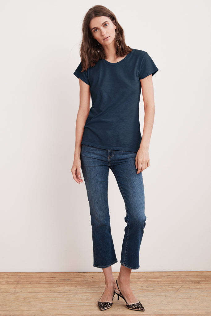 ODELIA COTTON SLUB CREW NECK TEE IN LAGOON