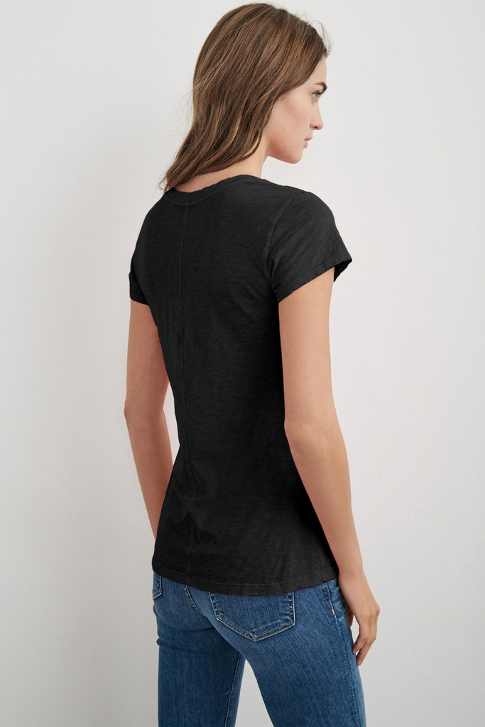 ODELIA COTTON SLUB CREW NECK TEE IN BLACK