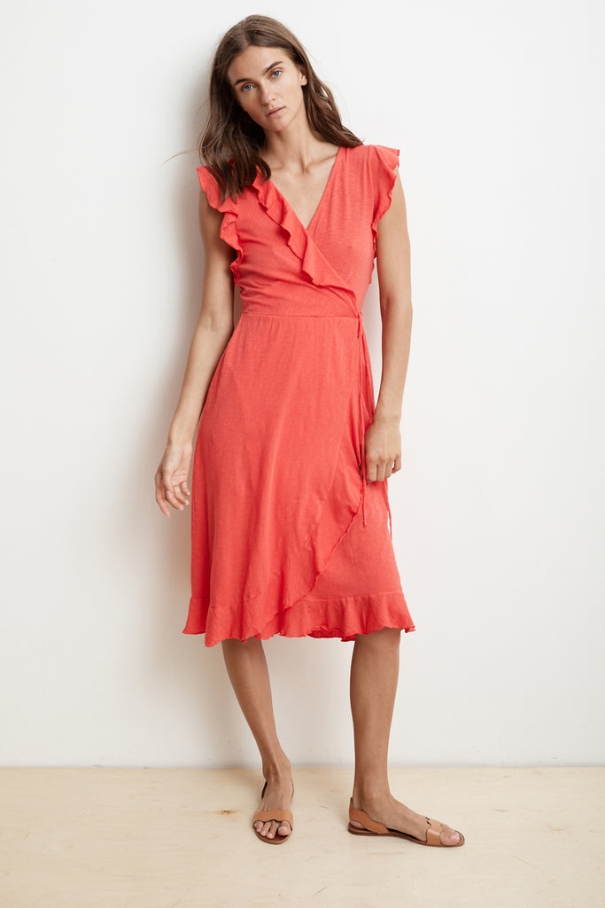 SEDONA COTTON SLUB RUFFLE WRAP DRESS IN JESTER