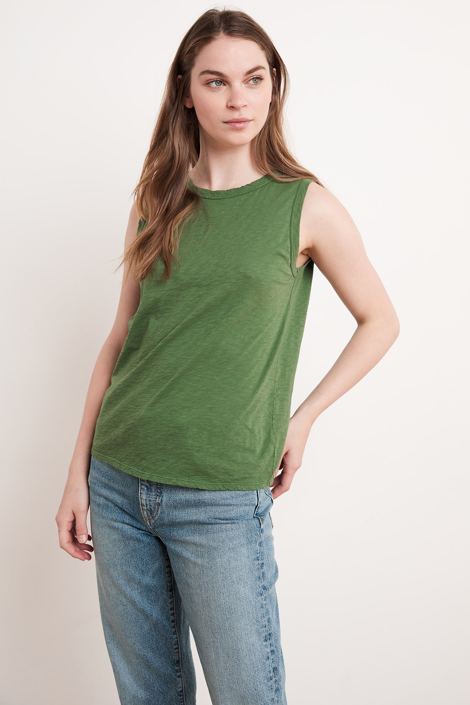 TAURUS COTTON SLUB TOP IN IVY