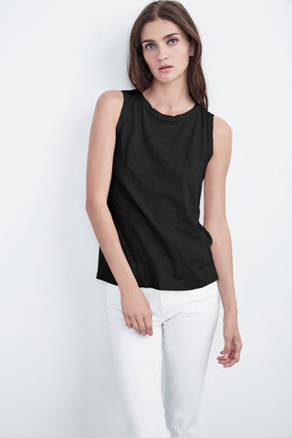 TAURUS COTTON SLUB TOP IN BLACK