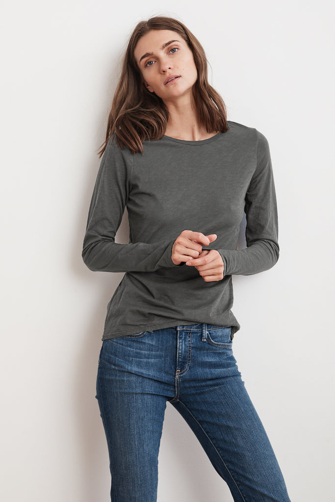 TIPPIE COTTON SLUB LONG SLEEVE TEE IN MEDIUM HEATHER GREY