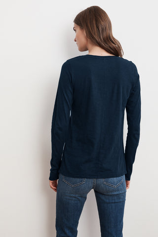 TIPPIE COTTON SLUB LONG SLEEVE TEE IN LAGOON