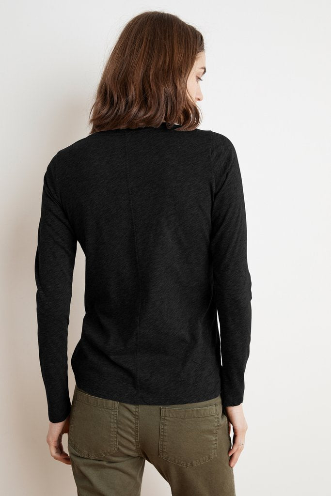 TIPPIE COTTON SLUB LONG SLEEVE TEE IN BLACK