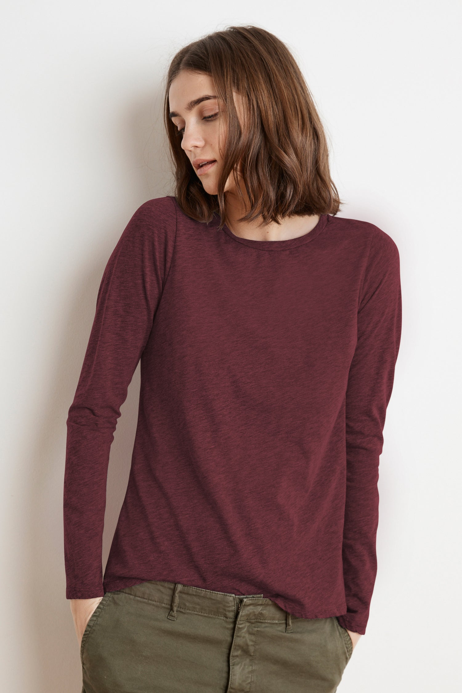 TIPPIE COTTON SLUB LONG SLEEVE TEE IN BARREL