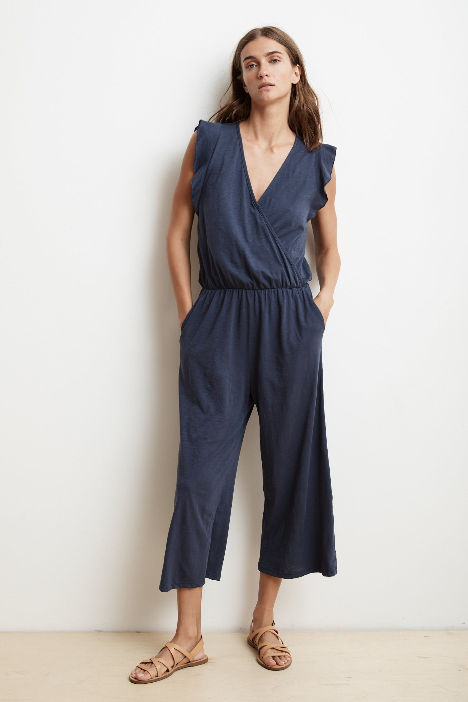WYNONNA COTTON SLUB FAUX WRAP JUMPSUIT IN CAYMAN