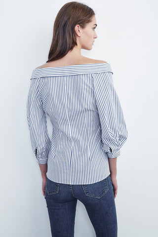 ROSETTA COTTON STRIPE OFF THE SHOULDER SHIRT IN BLUE