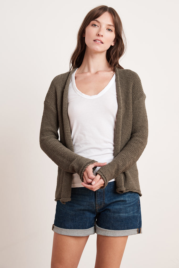 JAZ TEXTURED TAPE YARN CARDI IN FOREST