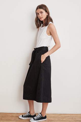 BRAY COTTON TWILL BELTED SKIRT IN BLACK