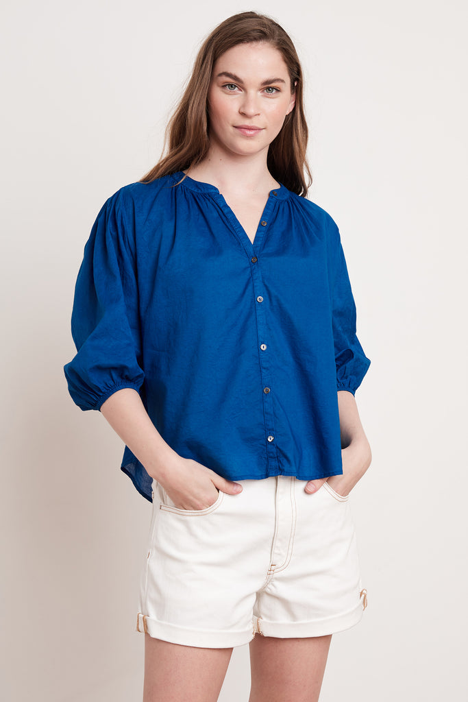 EMBERLY COTTON VOILE TOP IN PATRIOT