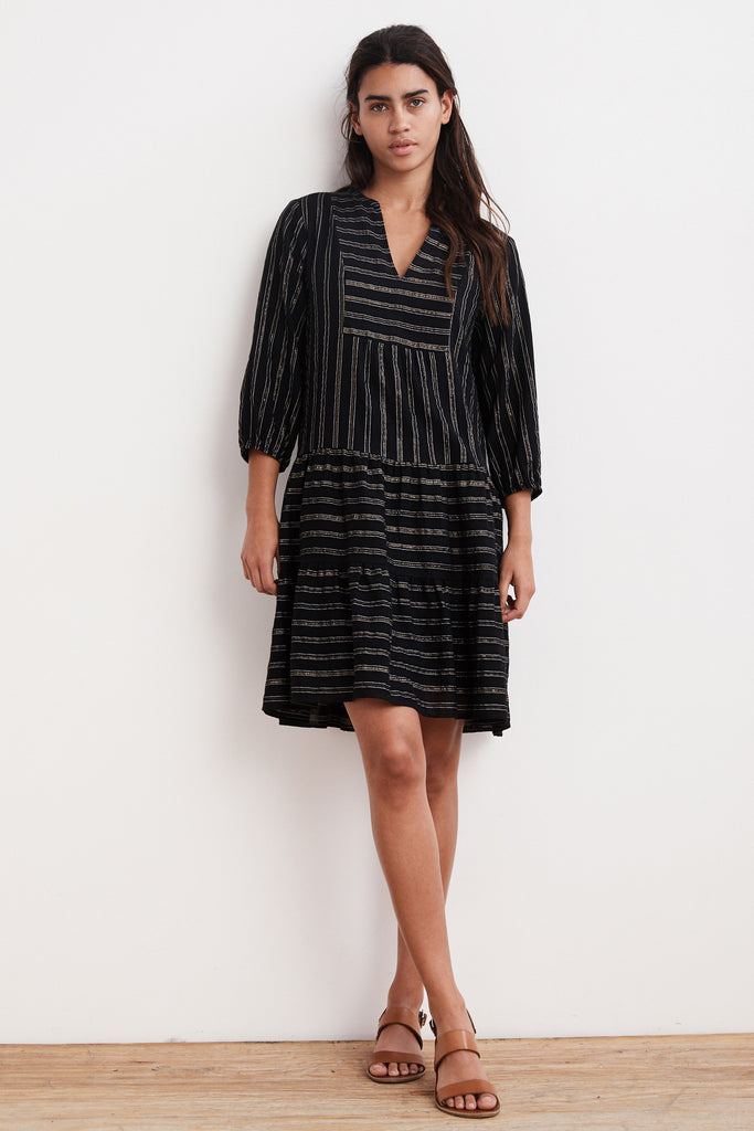 ARLENA COTTON VOILE LUREX PEASANT DRESS IN BLACK