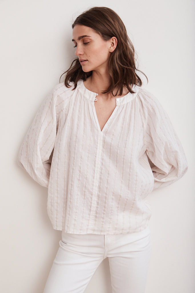 OLIVE COTTON VOILE LUREX PEASANT TOP IN COCONUT